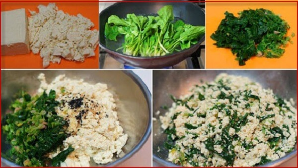 nguyên liệu đậu phụ trộn cải bó xôi chiên trứng